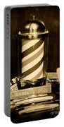 Barber - Barber Pole - Black And White Portable Battery Charger