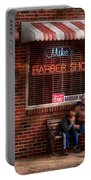 Barber - Metuchen Nj - Waiting For Mike Portable Battery Charger by Mike Savad
