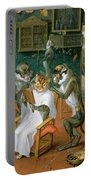 Barbers Shop With Monkeys And Cats Oil On Copper Portable Battery Charger