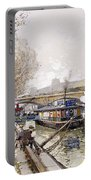 Barges On The Seine Portable Battery Charger by Eugene Galien-Laloue