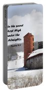 Barn In Winter With Psalm Scripture Portable Battery Charger