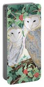 Barn Owls Portable Battery Charger by Suzanne Bailey
