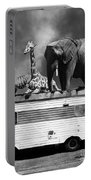 Barnum And Bailey Goes On A Road Trip 5d22705 Vertical Black And White Portable Battery Charger