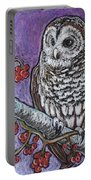 Barred Owl And Berries Portable Battery Charger
