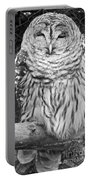 Barred Owl In Black And White Portable Battery Charger