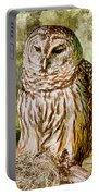 Barred Owl On Moss Portable Battery Charger