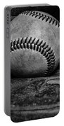 Baseball Broken In Black And White Portable Battery Charger