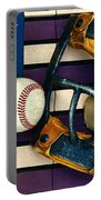 Baseball Catchers Mask Vintage On American Flag Portable Battery Charger