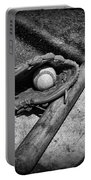Baseball Home Plate In Black And White Portable Battery Charger by Paul Ward