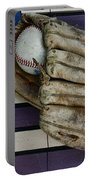 Baseball Mitt On American Flag Folk Art Portable Battery Charger