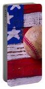 Baseball On American Flag Portable Battery Charger