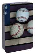 Baseballs On American Flag Folkart Portable Battery Charger