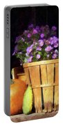 Basket Of Asters With Pumpkin And Gourd Portable Battery Charger