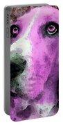 Basset Hound - Pop Art Pink Portable Battery Charger