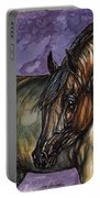 Bay Horse On The Purple Background Portable Battery Charger