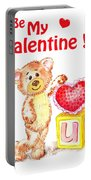 Be My Valentine Teddy Bear Portable Battery Charger