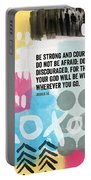 Be Strong And Courageous- Contemporary Scripture Art Portable Battery Charger