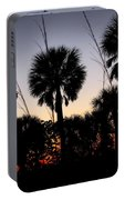 Beach Foliage At Sunset Portable Battery Charger