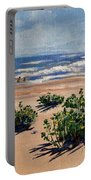 Beach Scene On Galveston Island Portable Battery Charger