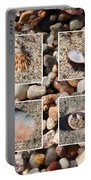 Beach Shells And Rocks Collage Portable Battery Charger by Carol Groenen