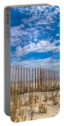 Beach Under Blue Skies Portable Battery Charger by Debra and Dave Vanderlaan