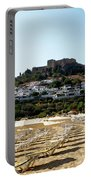 Beach View Of Lindos Portable Battery Charger
