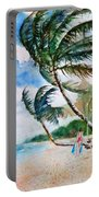Beach With Palm Trees Portable Battery Charger