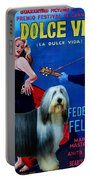 Bearded Collie Art Canvas Print - La Dolce Vita Movie Poster Portable Battery Charger
