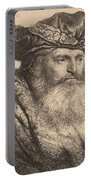 Bearded Man In A Velvet Cap With A Jewel Clasp Portable Battery Charger