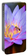 Beautiful Lily And Visiting Bee Portable Battery Charger