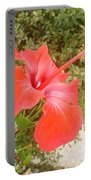 Beautiful Red Hibiscus Flower With Garden Background Portable Battery Charger