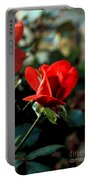 Beautiful Red Rose Bud Portable Battery Charger by Robert Bales