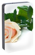 Beautiful Rose On White Portable Battery Charger