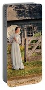 Beautiful Woman In White Dress With Parasol Portable Battery Charger