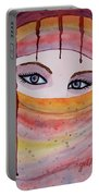 Beautiful Woman With Niqab Watercolor Painting Portable Battery Charger