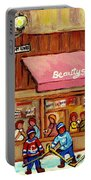 Beauty's Restaurant Paintings Of Plateau Montreal Winter Scenes Hockey Art Carole Spandau  Portable Battery Charger