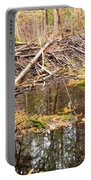 Beaver Dam In Fall Colored Forest Wetland Swamp Portable Battery Charger