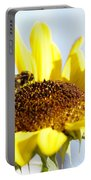 Bee And Flower Portable Battery Charger by Les Cunliffe