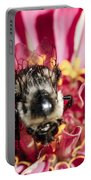 Bee Close Up On Pinkish Red Flower Portable Battery Charger