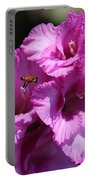 Bee In Pink Gladiolus Portable Battery Charger