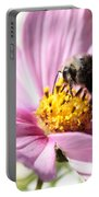 Bee On Pink Cosmos Portable Battery Charger
