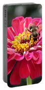 Bee On Pink Flower Portable Battery Charger