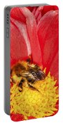 Bee On Red Dahlia Portable Battery Charger