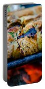 Beef Kababs On The Grill Closeup Portable Battery Charger