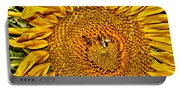 Bees On Sunflower Hdr Portable Battery Charger