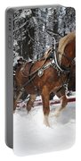 Belgian Draft Horses Pulls A Sleigh In Yosemite National Park Portable Battery Charger