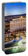 Bellagio Rountains From Eiffel Tower At Dusk Portable Battery Charger