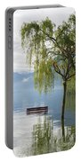 Bench With Trees On A Flooding Alpine Lake Portable Battery Charger