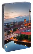 Berlin Germany Major Landmarks At Sunset Portable Battery Charger
