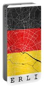 Berlin Street Map - Berlin Germany Road Map Art On German Flag Background Portable Battery Charger